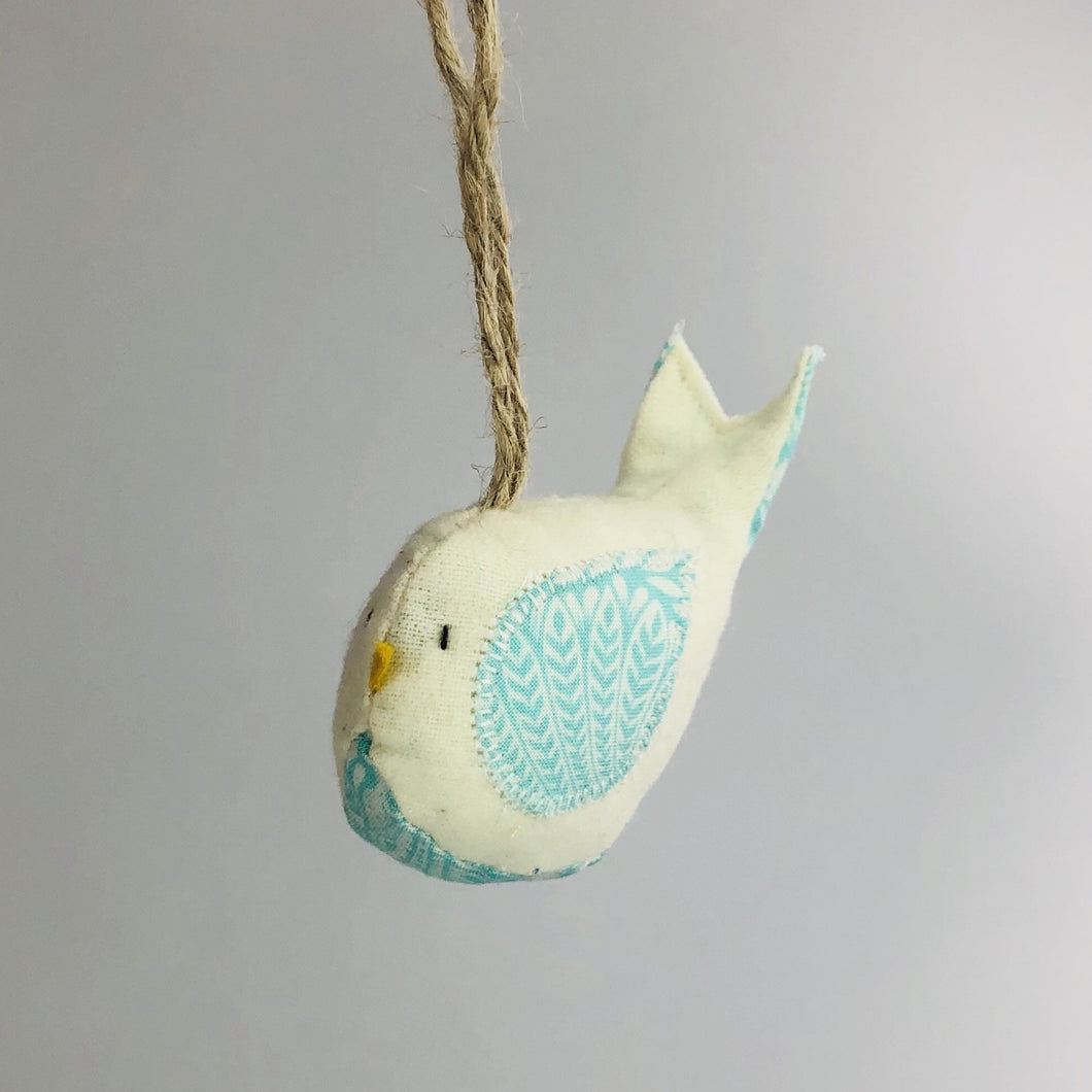 Hanging Bird - Light Blue Floral