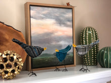 Load image into Gallery viewer, Bird with Wire Legs - Grey an Blue Plaid