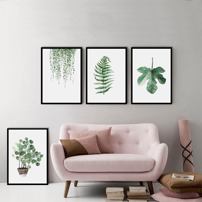 Unframed Green Plants Oil Paintings With Tropical Leaves Canvas Wall Art