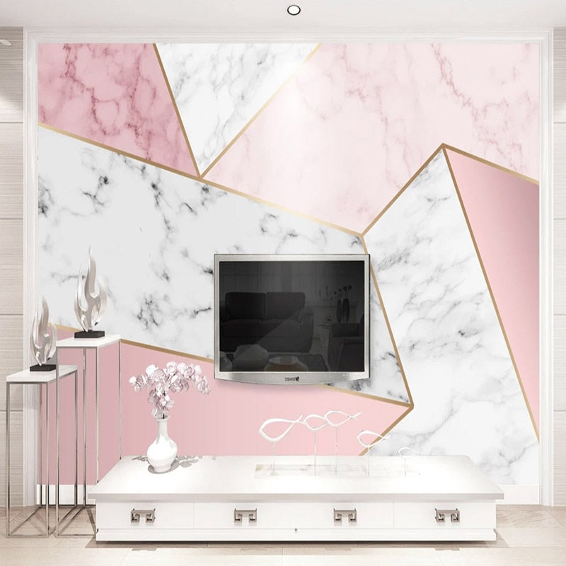Pink Marble Self-Adhesive Geometric Photo Wall Mural