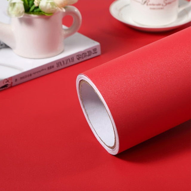 Plain Matt Red Self Adhesive Waterproof Wallpaper - 40cm x 1/2m