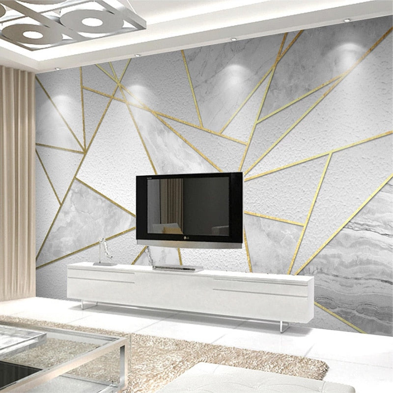 Grey and Gold 3D Geometric Marble Wall Mural