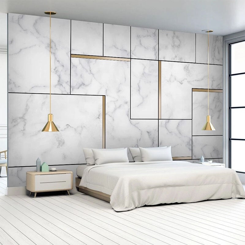3D Geometric White And Gold Nordic Style Marble Wall Mural