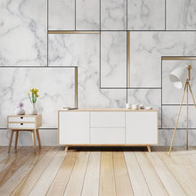 Load image into Gallery viewer, 3D Geometric White And Gold Nordic Style Marble Wall Mural