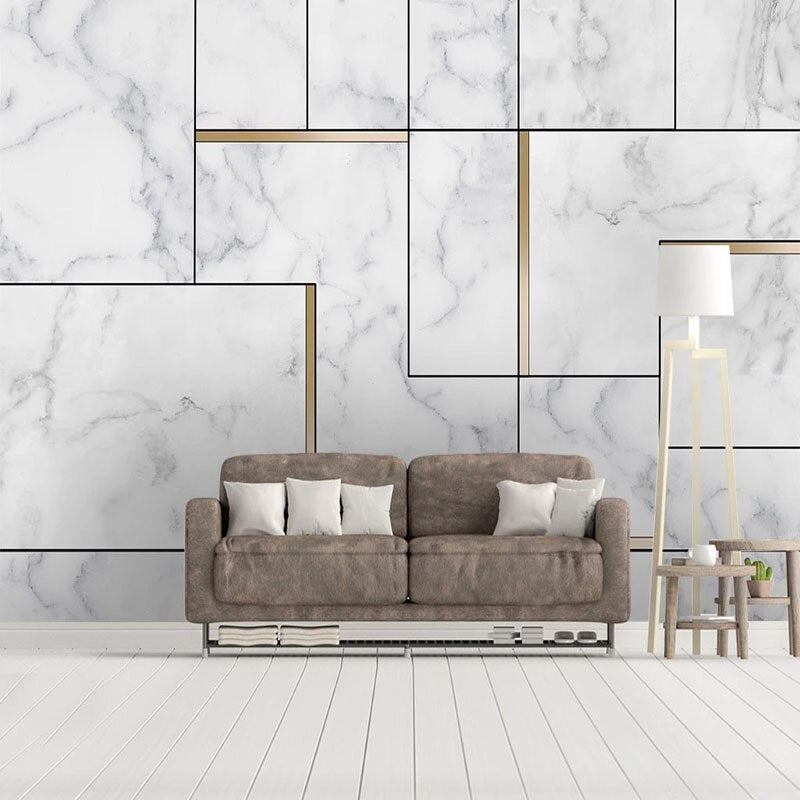 White And Gold 3D Geometric Nordic Style Marble Wall Mural