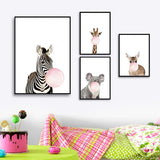 Animals Blowing Bubble Gum Canvas Print Wall Art
