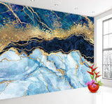 Blue and Gold Glitter Custom Abstract 3D Marble Wall Mural
