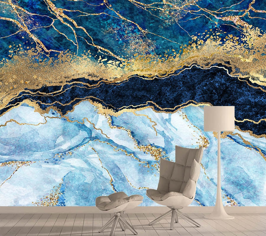 Blue Glitter Gold Custom Abstract 3D Marble Wall Mural