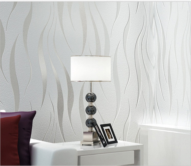 White and Silver 3D Embossed Wallpaper - 10m x 0.53m
