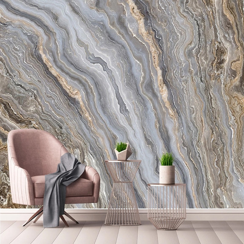 3D Abstract Landscape Grey and Golden Liquid Marble Pattern Wall Mural
