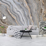 Grey and Gold 3D Abstract Liquid Marble Pattern Wall Mural