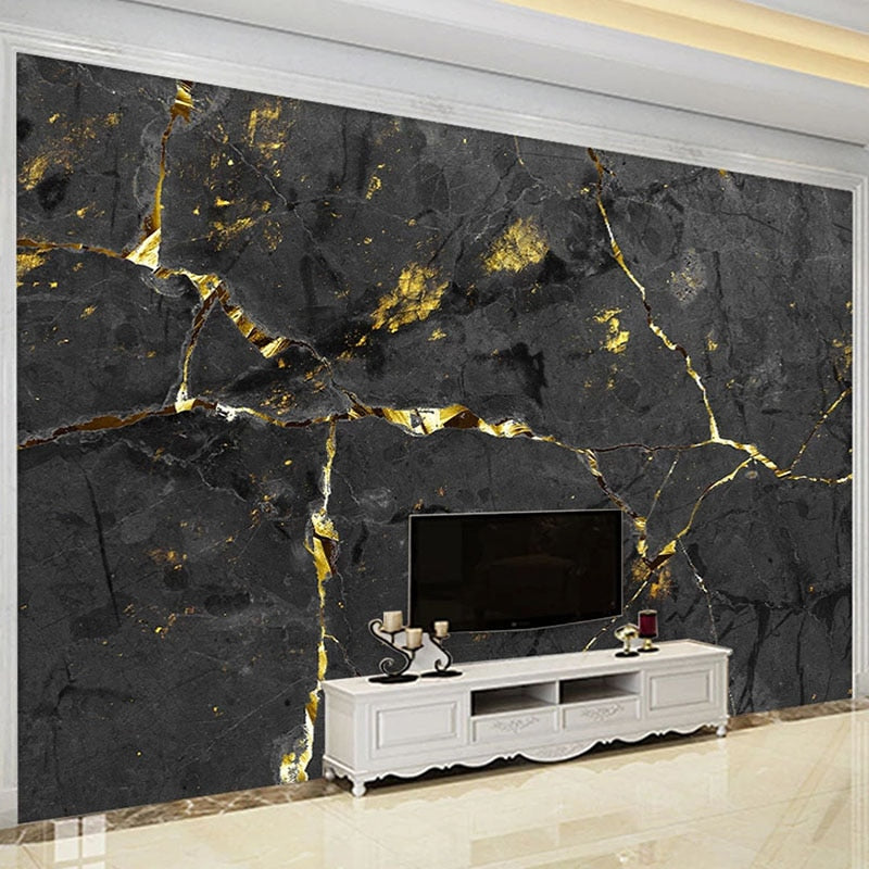 Black and Gold Custom 3D Marble Wall Mural