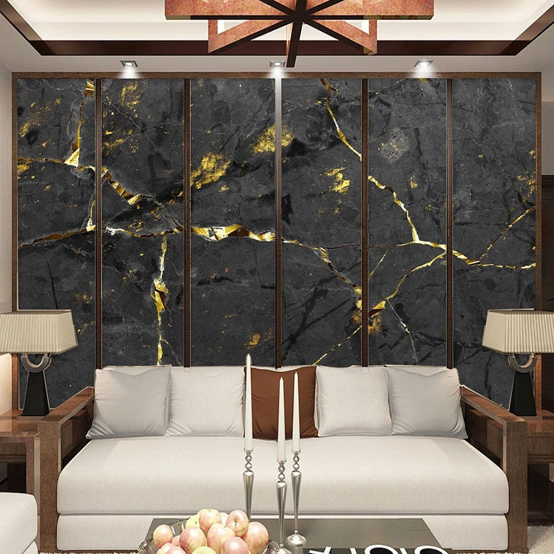 3D Black and Gold Marble Wall Mural