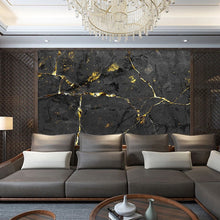 Load image into Gallery viewer, Black and Gold Custom 3D Marble Wall Mural
