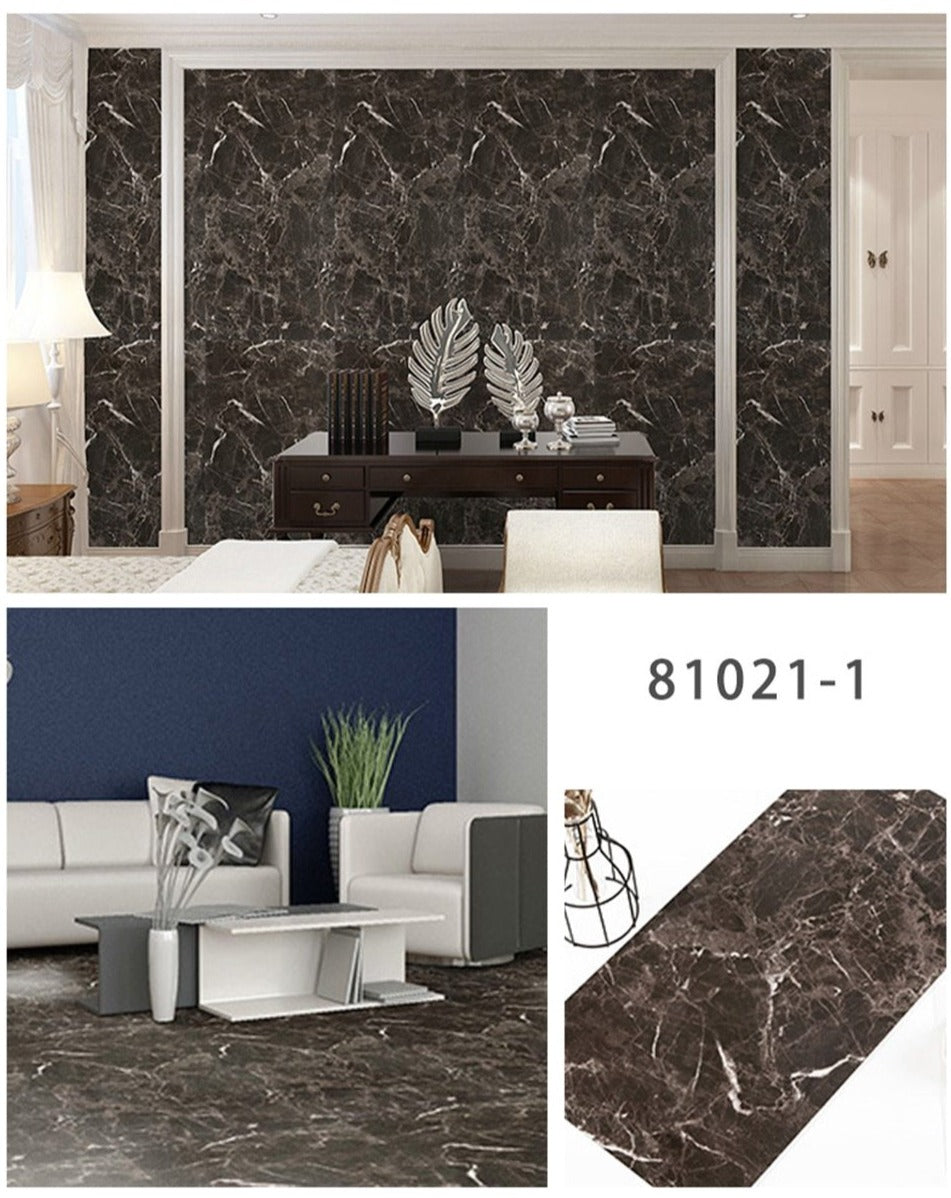 Light Black Waterproof Self Adhesive Marble Floor Stickers