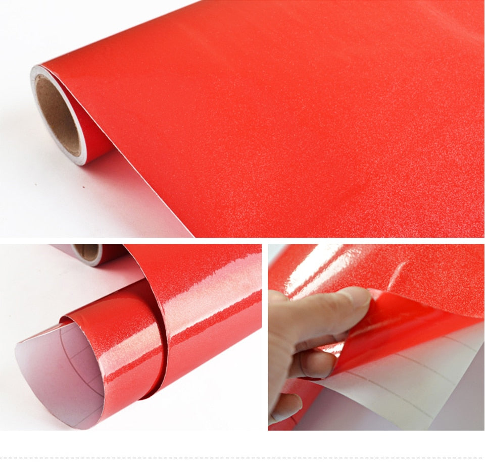 Plain Red Shiny Self Adhesive Waterproof Wallpaper