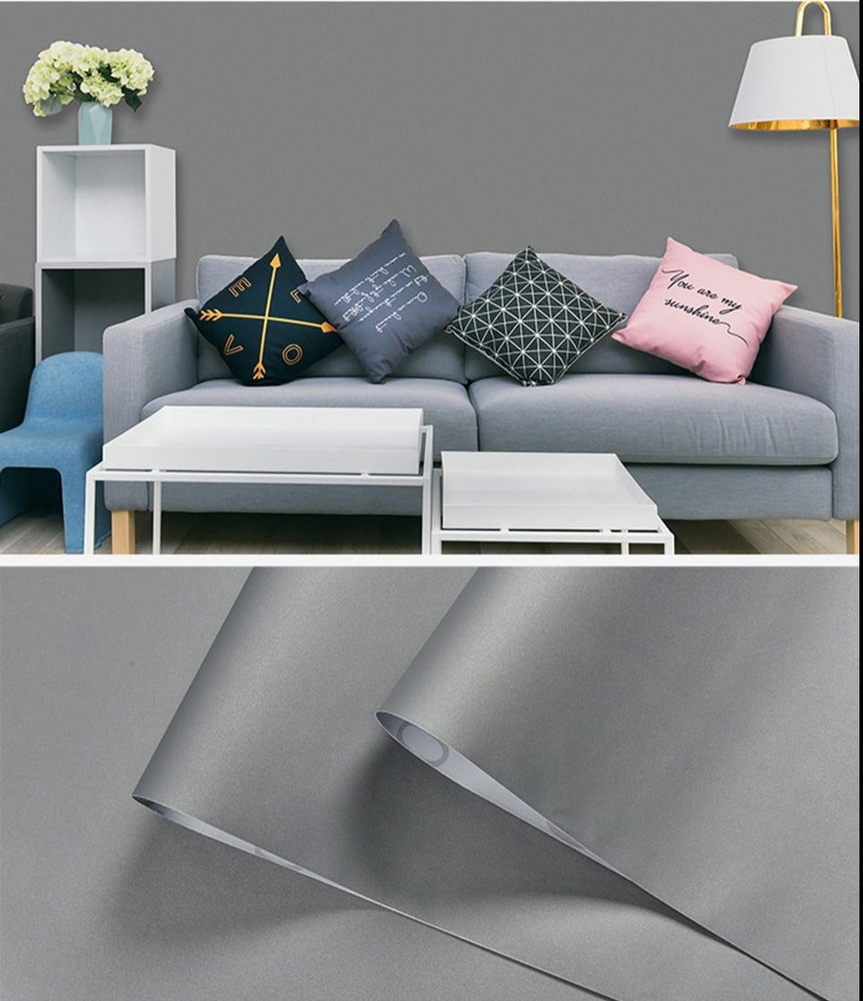 Plain Grey Shiny Self Adhesive Waterproof Wallpaper