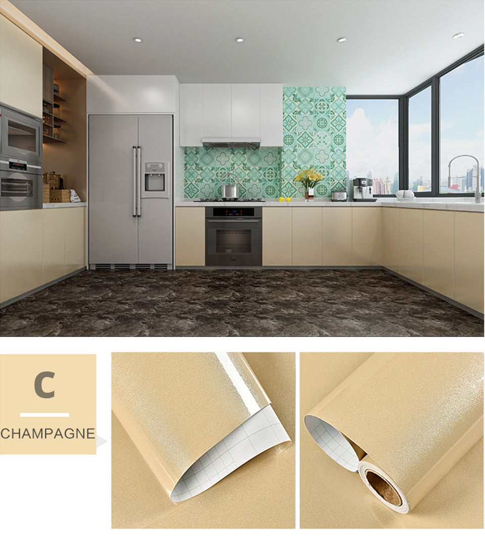 Plain Champagne Shiny Self Adhesive Waterproof Wallpaper - 40cm x 1/2m
