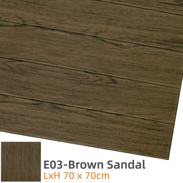 Brown 3D Wood Wall Stickers
