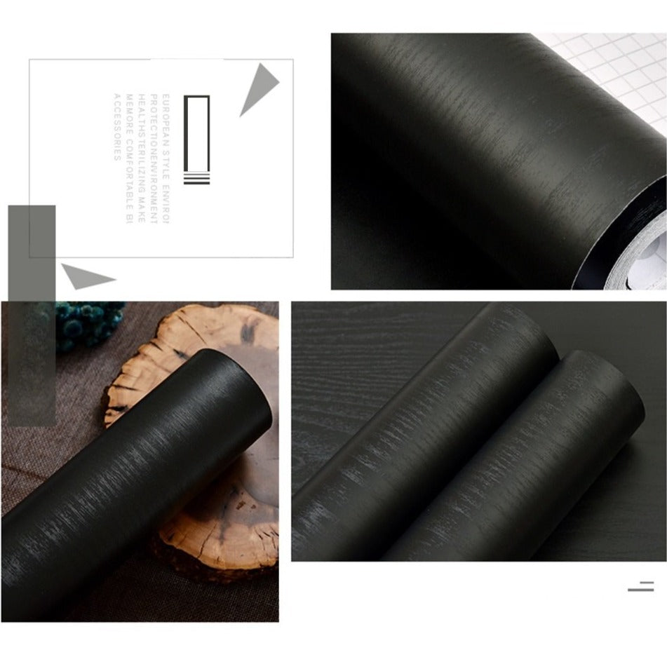 Black Thick Waterproof Self Adhesive Wood Effect Wallpaper - 1M/2M