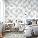 White and Black Peel and Stick Geometric Pattern Wallpaper - 1M/3M