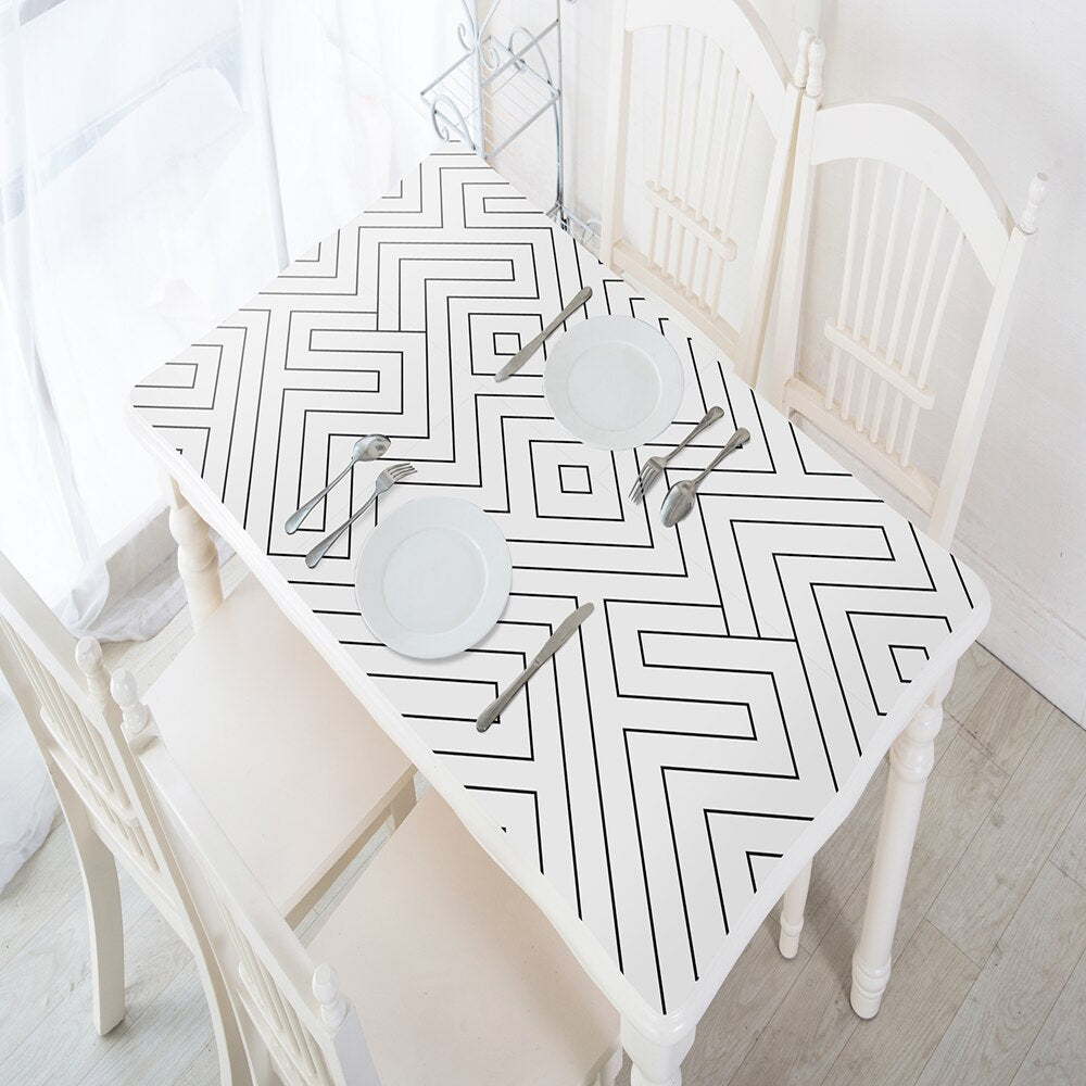 White and Black Geometric Wallpaper - 45cm x 1m/3m