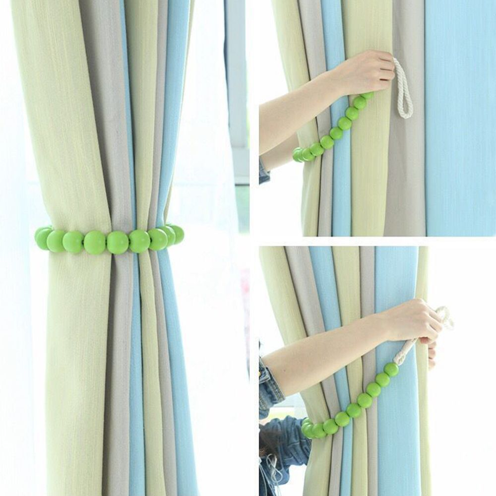 Solid Colour Wood Bead Curtain Tie Rope Back - 2 Pieces