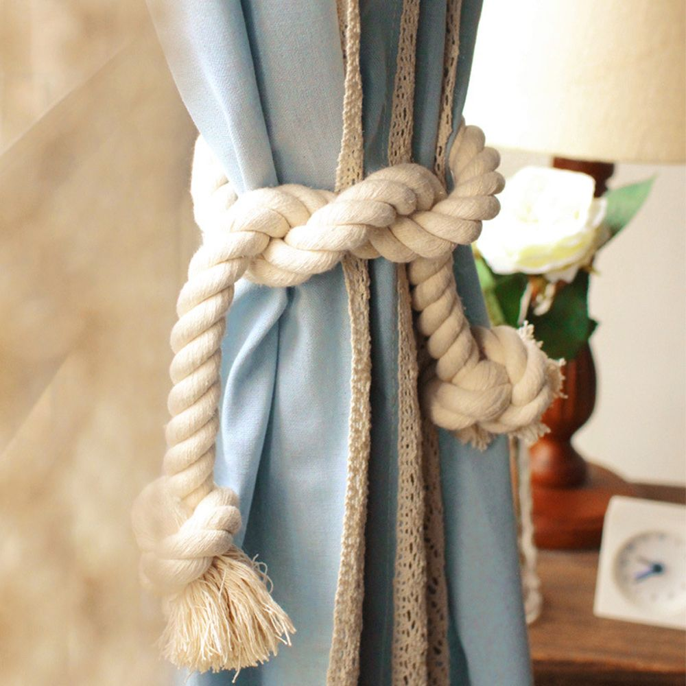 Handmade Beige Cotton Weaved Linen Rope Curtain Tie Back