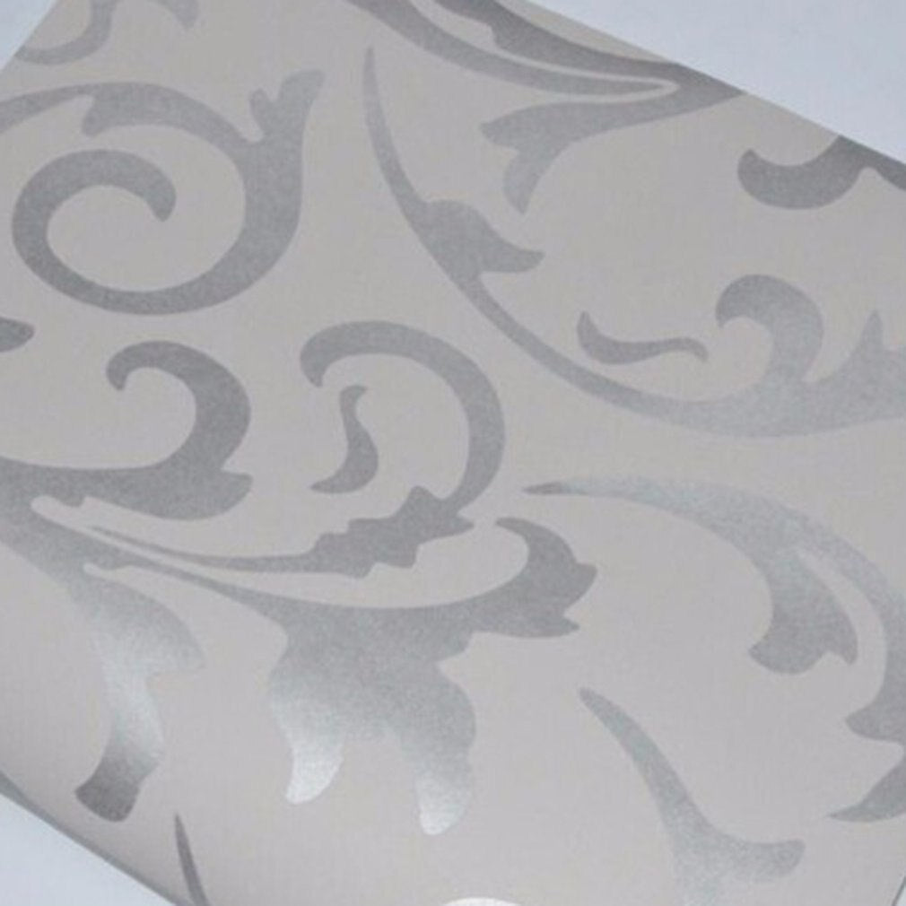 European 3D Non-Woven Crocheted Leaves Silver Wallpaper - 0.53 x 10m