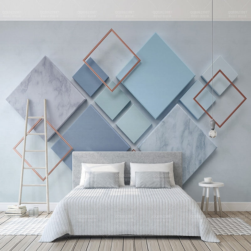 Blue 3D Diamond Shape Photo Wall Mural