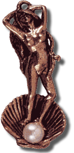 Aphrodite Pendant in bronze with Pearl