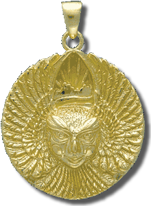 Ariel Bird Goddess Golden Medallion