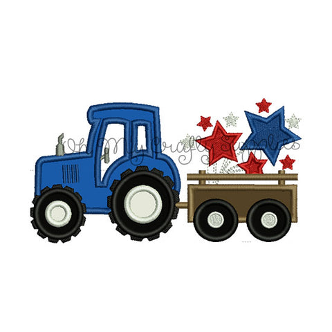 Fourth of July Tractor Applique Embroidery Design
