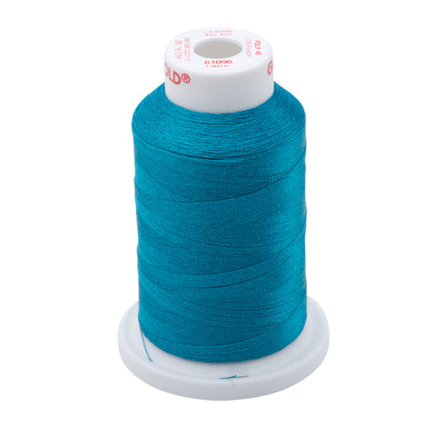 61096 - Dark Turquoise Polyester Embroidery Thread - 40 WT. 1,100 yd. Cones