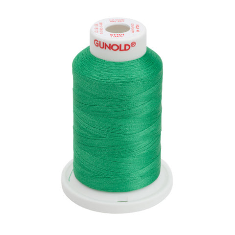 61101 - True Green Polyester Embroidery Thread - 40 WT. 1,100 yd. Cones