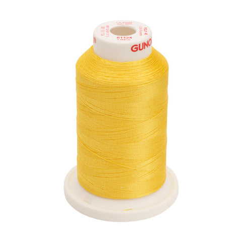 61124 - Sun Yellow Polyester Embroidery Thread - 40 WT. 1,100 yd. Cones