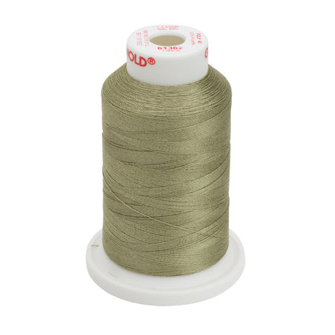 61362 - Medium Olive Polyester Embroidery Thread - 40 WT. 1,100 yd. Cones