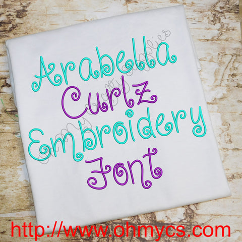 Arabella Curlz Embroidery Font (BX Included)