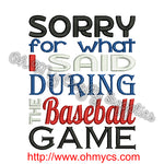 Baseball Apology Embroidery Design
