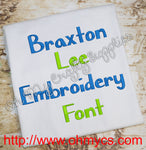 Braxton Lee Embroidery Font (BX Included)