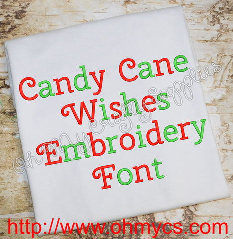 Candy Cane Wishes Embroidery Font (BX Included)