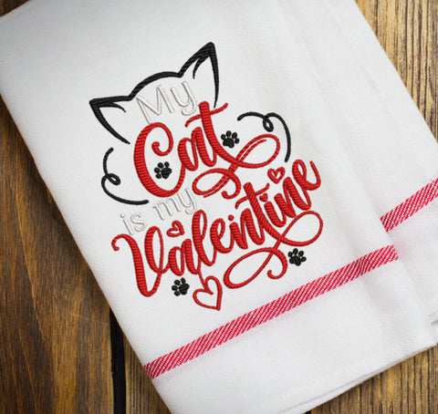 Cat Valentine Embroidery Design