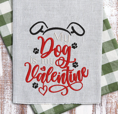 Dog Valentine Embroidery Design