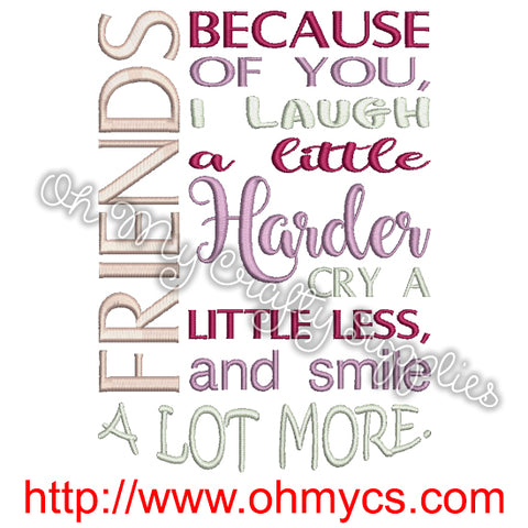 Friends Cry Laugh Smile Embroidery Design
