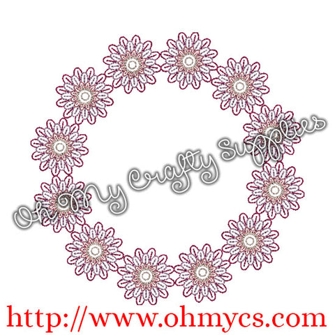 Flower Monogram Frame Embroidery Desgn