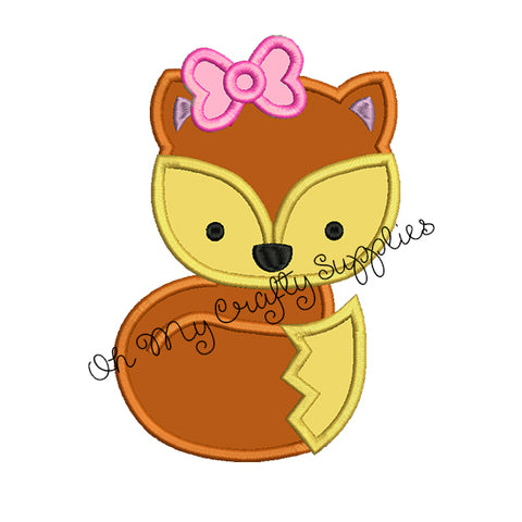 Fox with Bow Applique Embroidery Design