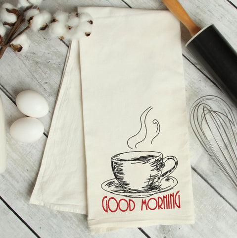 Good Morning Sketch Coffee Embroidery Design