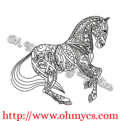 Henna Horse Embroidery Design