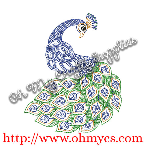 Henna Peacock Embroider Design