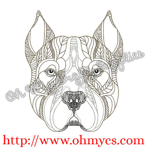 Henna Pit bull Embroidery Design